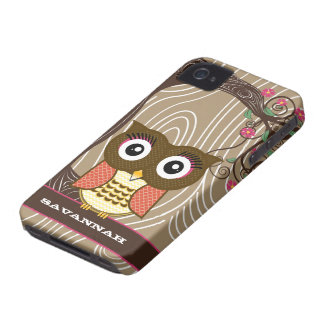 Tangerine Owl Wood Grain Tree Zig Zag Choose Color iPhone 4 Case-Mate Case