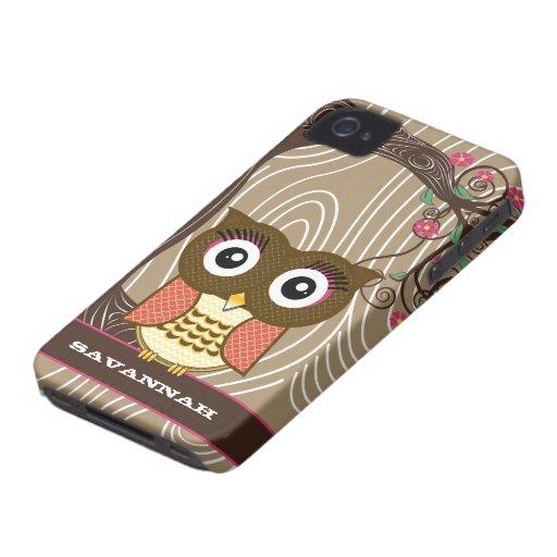 Tangerine Owl Wood Grain Tree Zig Zag Choose Color iPhone 4 Case-Mate Case