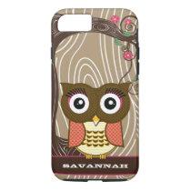 Tangerine Owl Wood Grain Tree Zig Zag Choose Color iPhone 7 Case