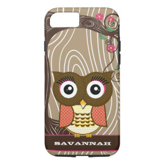 Tangerine Owl Wood Grain Tree Zig Zag Choose Color iPhone 7 Case