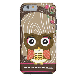 Tangerine Owl Wood Grain Tree Zig Zag Choose Color Tough iPhone 6 Case