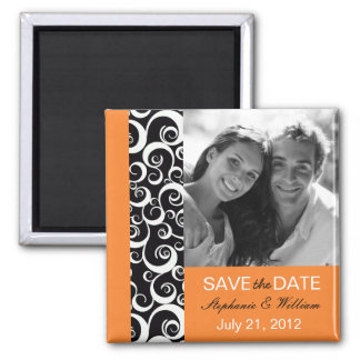 Tangerine Photo Save The Date Magnet