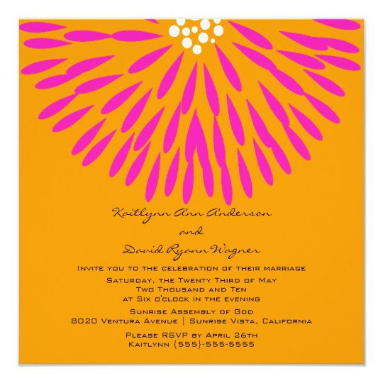 Tangerine & Pink  Floral Wedding Invitation