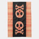 Tangerine Plaid Skull Towels