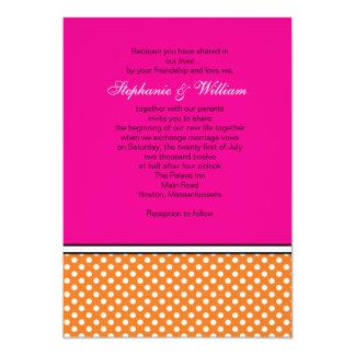 Tangerine Polka Dot and Pink Wedding Invitation