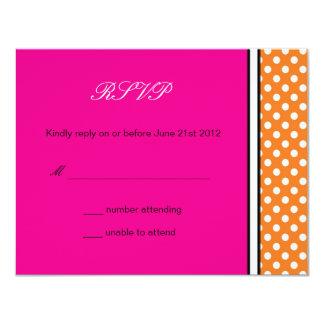 Tangerine Polka Dot and Pink Wedding RSVP Card