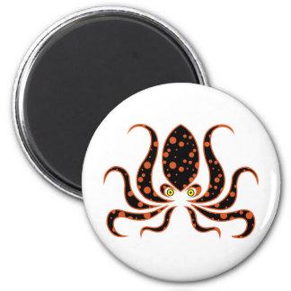 Tangerine Polka Dot Octopus Octopi 2 Inch Round Magnet