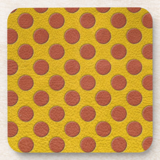 Tangerine Polka Dots on Yellow Leather Texture Beverage Coaster