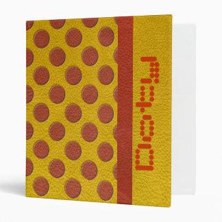 Tangerine Polka Dots on Yellow Leather Texture Binder