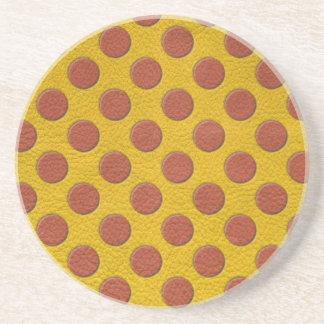 Tangerine Polka Dots on Yellow Leather Texture Coaster