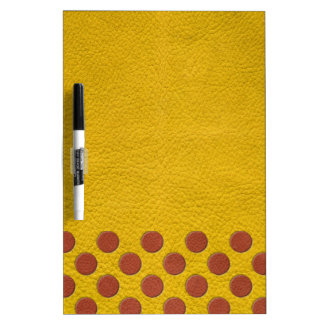 Tangerine Polka Dots on Yellow Leather Texture Dry-Erase Boards