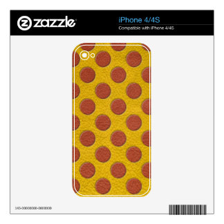 Tangerine Polka Dots on Yellow Leather Texture iPhone 4S Decals