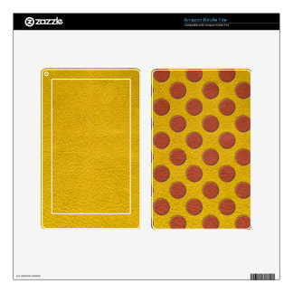 Tangerine Polka Dots on Yellow Leather Texture Kindle Fire Decal