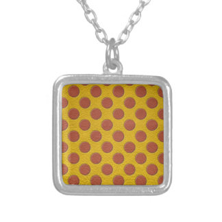 Tangerine Polka Dots on Yellow Leather Texture Silver Plated Necklace