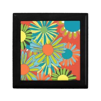 Tangerine pop flowers jewelry box
