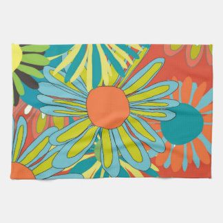 Tangerine pop flowers kitchen towel