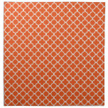 Tangerine Quatrefoil Clover Pattern Cloth Napkin