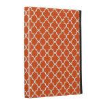 Tangerine Quatrefoil Clover Pattern iPad Case