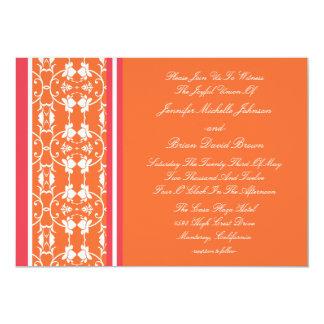 "Tangerine Raspberry Orange Wedding Invitations 5"" X 7"" Invitation Card"