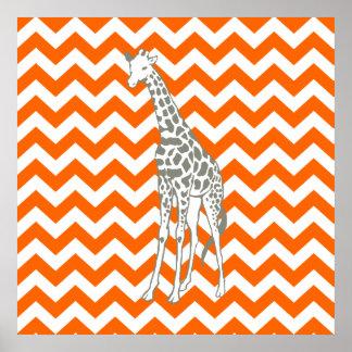 Tangerine Safari Chevron with Pop Art Giraffe Poster