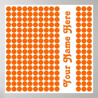 Tangerine Safari Dot with name Poster