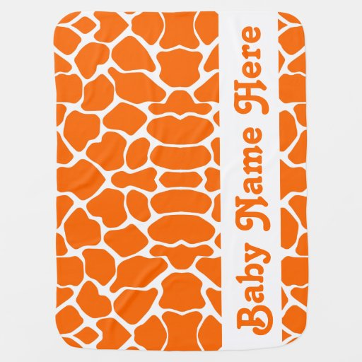 Tangerine Safari Giraffe with name Swaddle Blanket