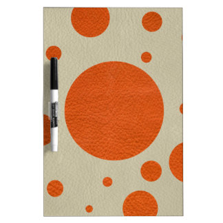 Tangerine Scattered Spots on Stone Leather Texture Dry-Erase Whiteboard