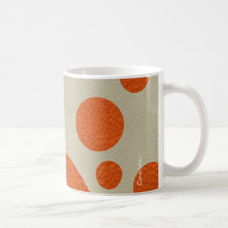 Tangerine Scattered Spots on Stone Leather Texture Classic White Coffee Mug