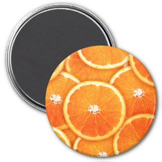Tangerine slices 3 inch round magnet