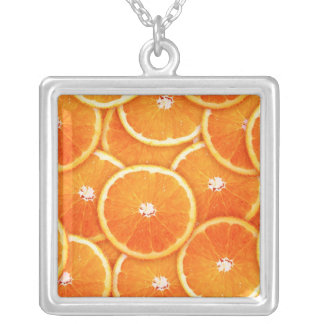 Tangerine slices silver plated necklace