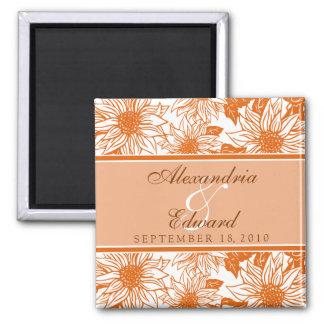 Tangerine Sunflowers Wedding Favor Magnet Gift