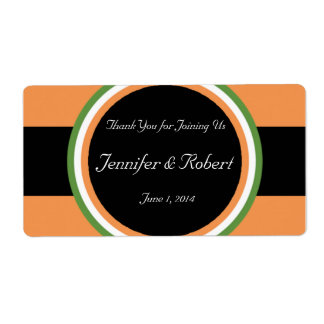 Tangerine Tango and Green Circles Water Bottle Lab Custom Shipping Labels