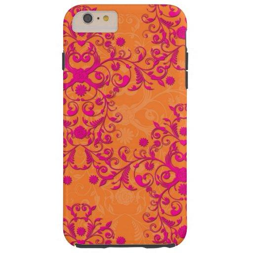 Tangerine Tango Floral Pink and Orange iPhone 6 ca Tough iPhone 6 Plus Case
