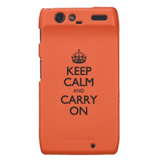 Tangerine Tango Keep Calm And Carry On Motorola Droid RAZR Cover