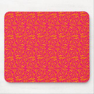 Tangerine Tango Orange and Hot Pink Vines Mouse Pad