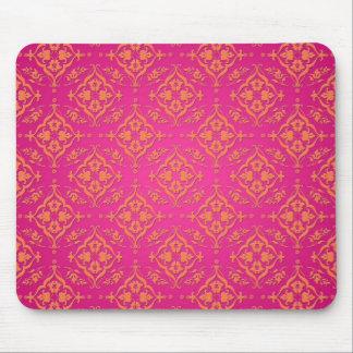 Tangerine Tango Orange and Pink Damask Mouse Pad