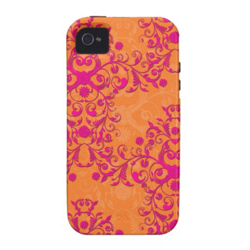 Tangerine Tango Orange and PInk Floral Damask iPhone 4 Cases