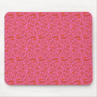 Tangerine Tango Orange and Pink Vines Mouse Pad
