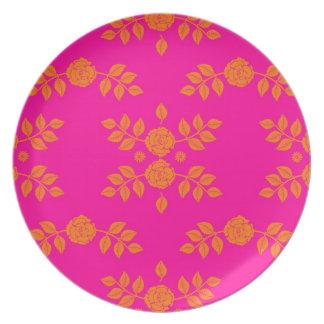 Tangerine Tango Pink and Orange Roses Plates