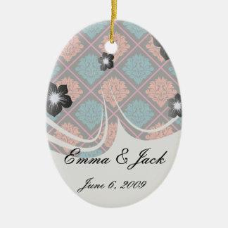 tangerine teal hot pink black damask ceramic ornament
