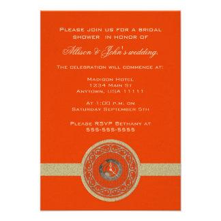 Tangerine Time Medallion Bridal Shower Invitation