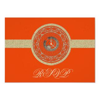 Tangerine Time Medallion RSVP Card