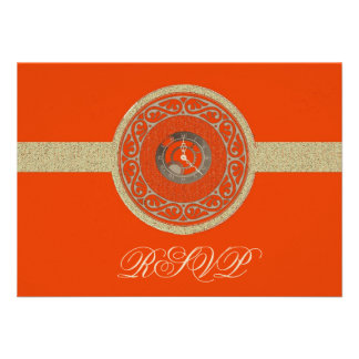 Tangerine Time Medallion RSVP Card Personalized Announcements