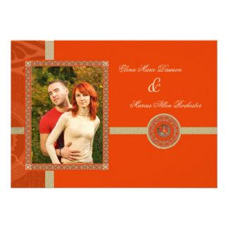 Tangerine Time Medallion Wedding Invitation