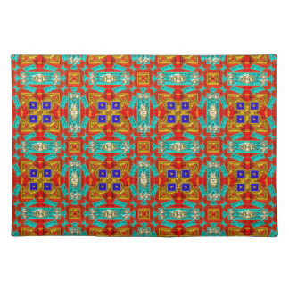 Tangerine Turquoise Red Blue Native American Place Mats