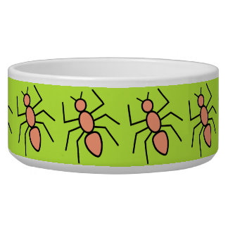 Tangerine Vector Ants (Grass Green Background) Dog Water Bowls