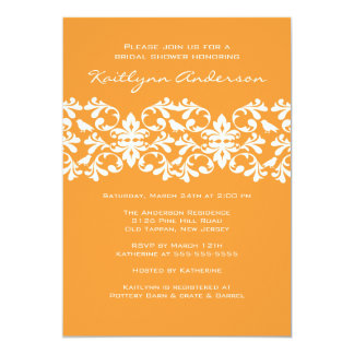 Tangerine & White Damask Bridal Shower Invitation