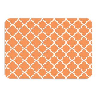 Tangerine White Quatrefoil Moroccan Pattern Card
