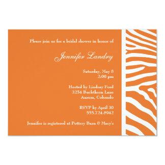 Tangerine Zebra Bridal Shower Invitation