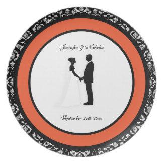 Tangering Tango & Damask Wedding Memento Plate